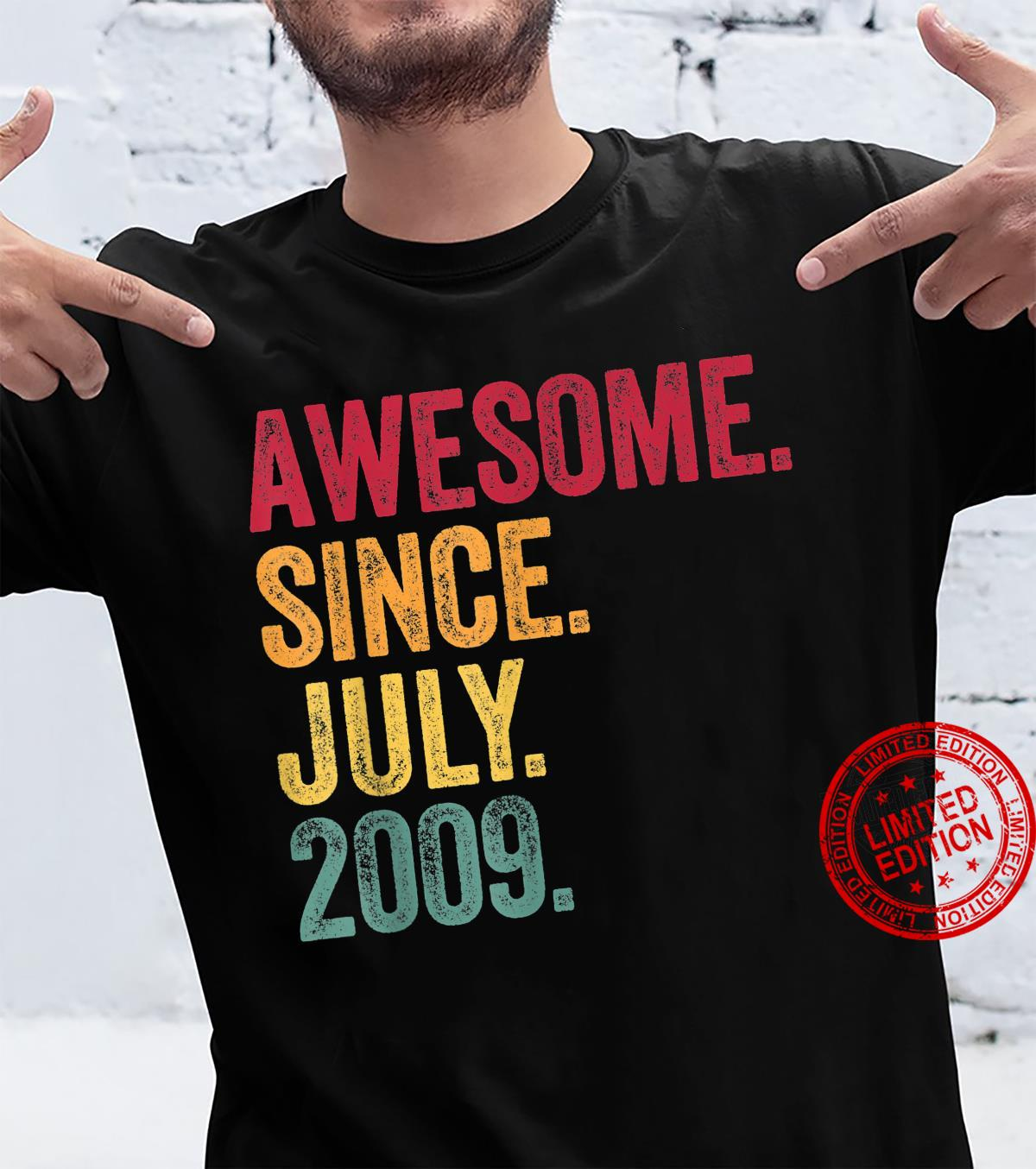 Awesome Since July 2009 12th Birthday 12 Years Old Vintage Shirt