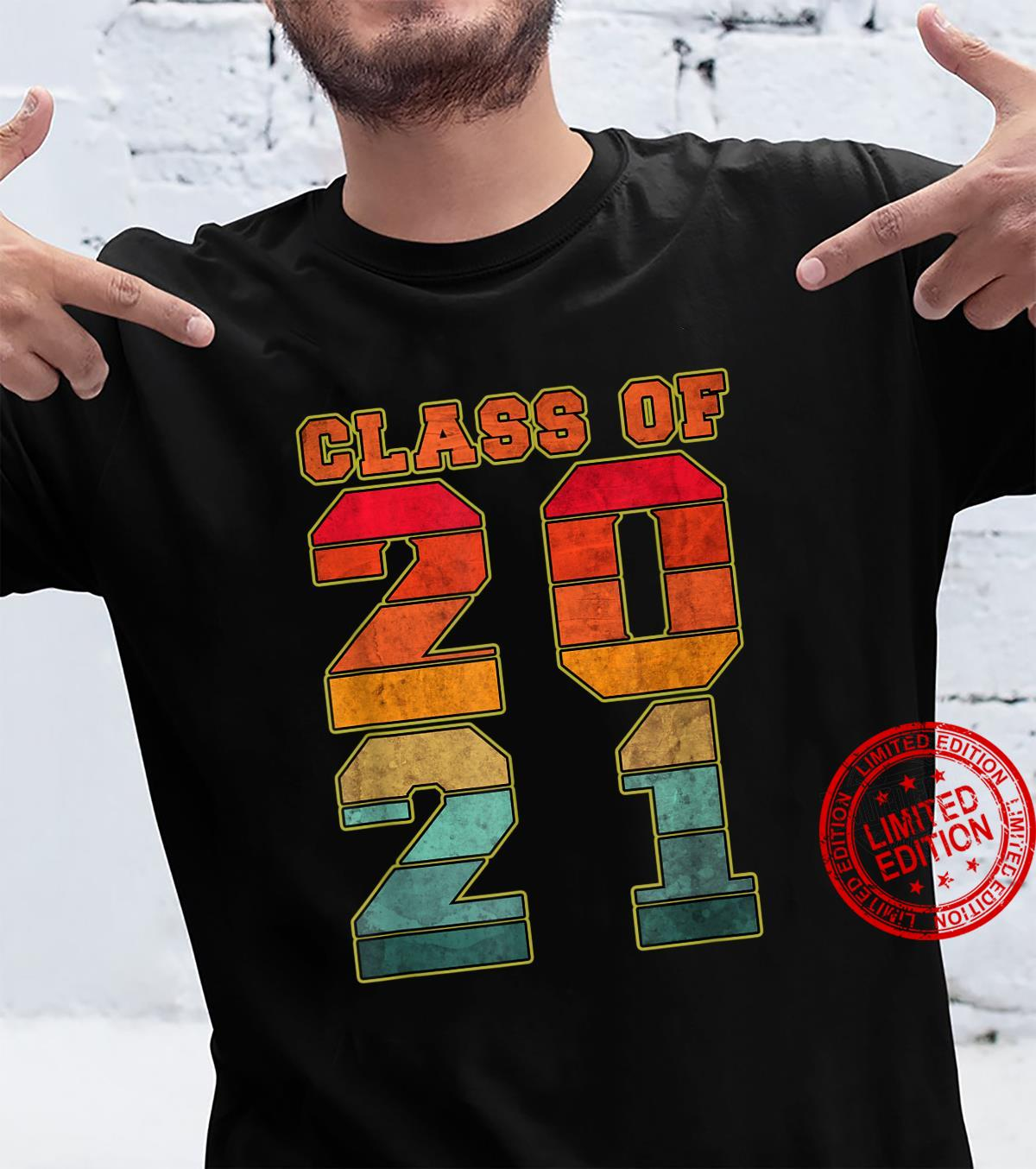 CLASS OF 2021 Graduation with Sunset Colors Shirt