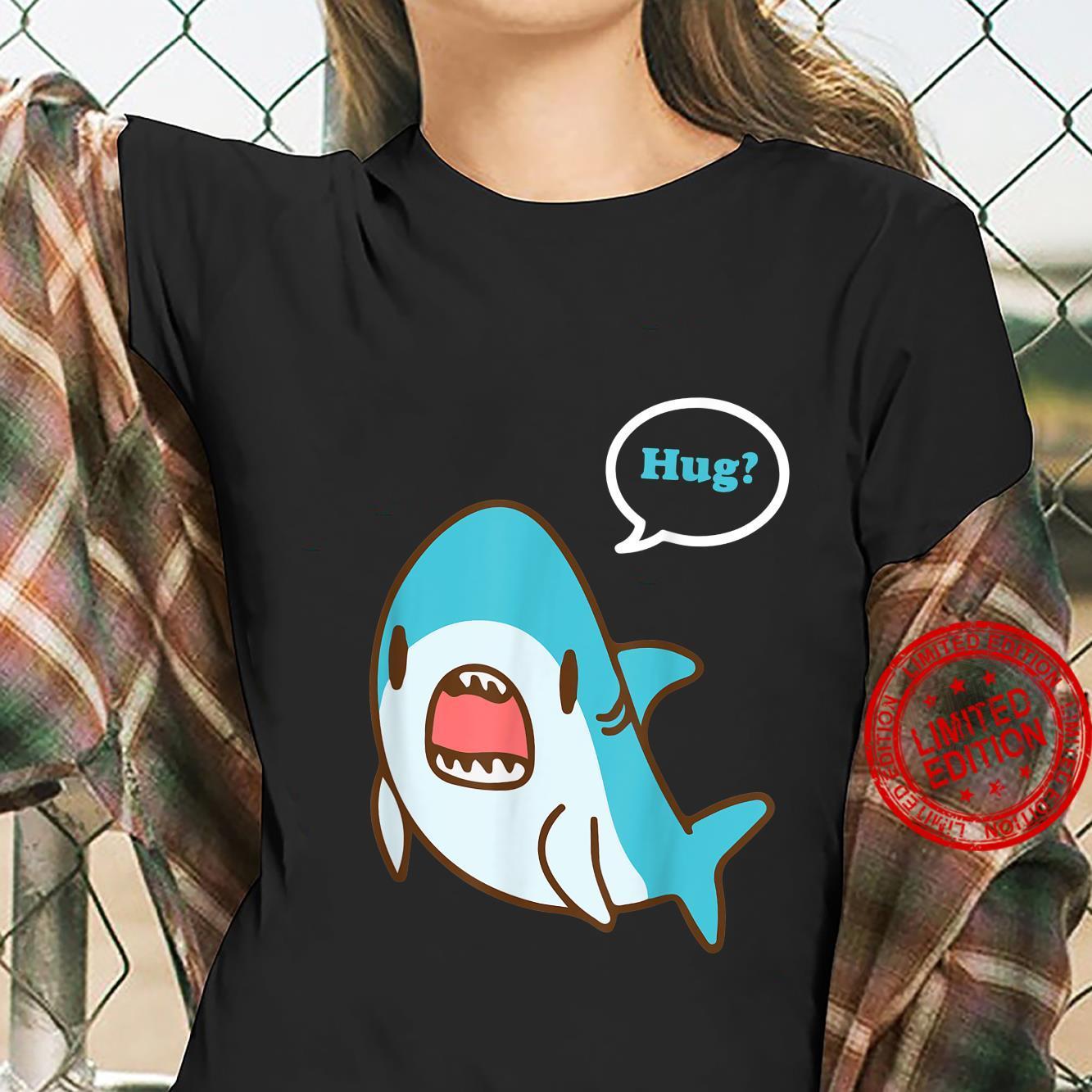Cute Shark Hug Shirt ladies tee