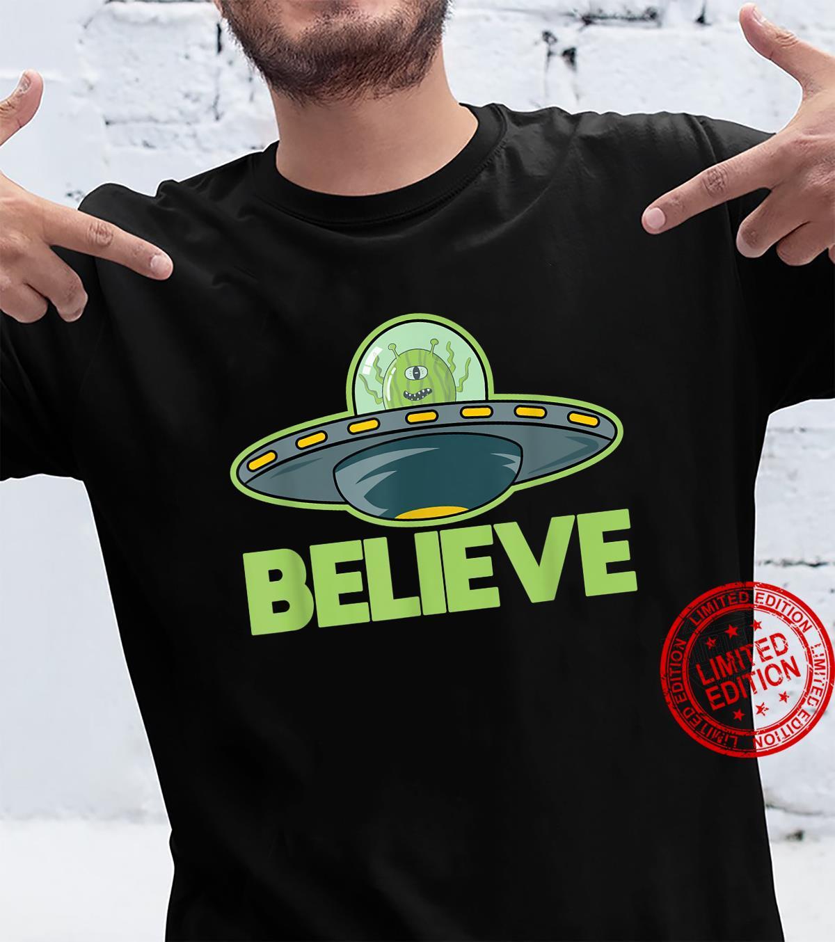 Funny Alien in UFO Flying Saucer Believe Shirt