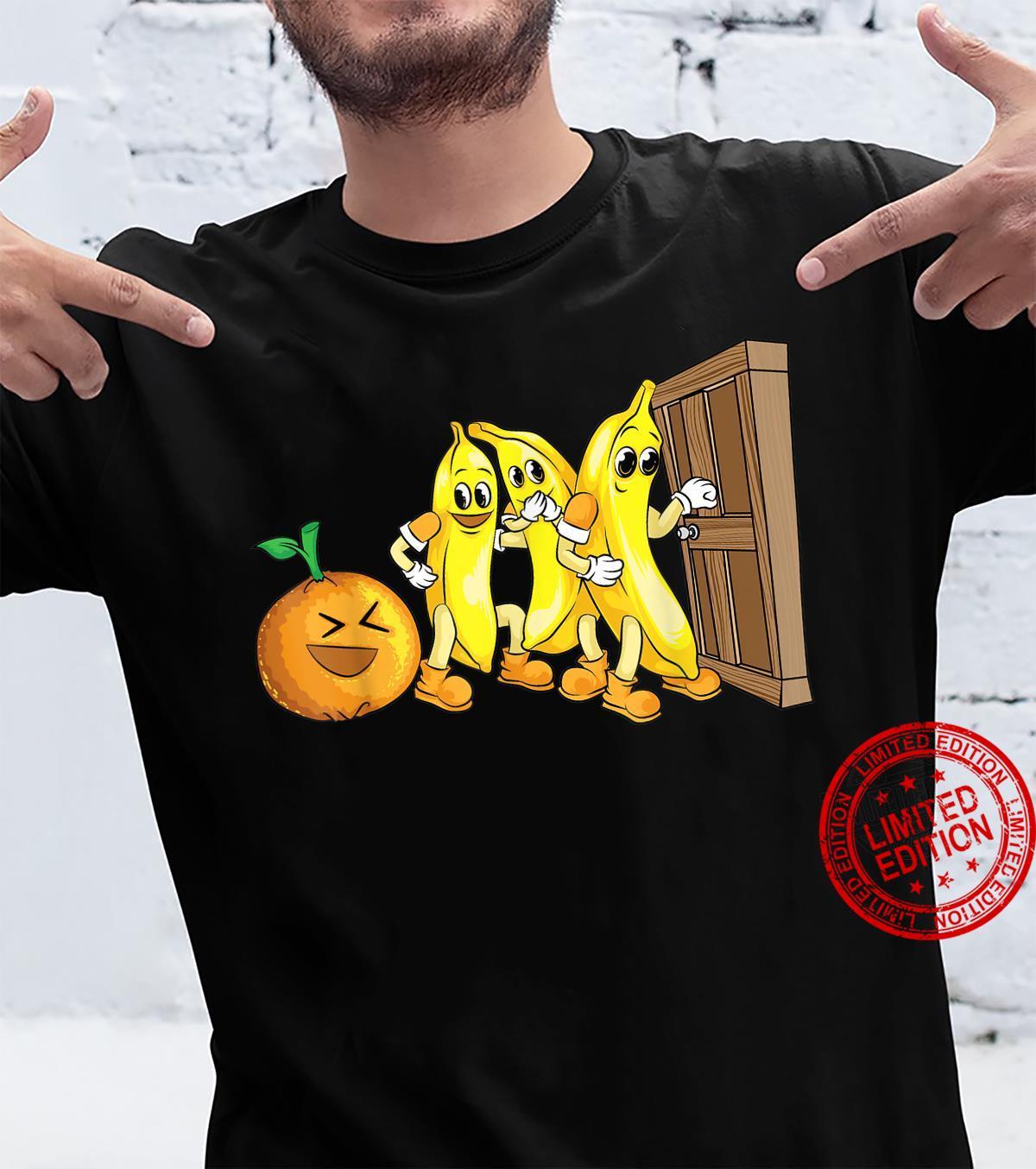 Funny Knock Knock 3 Bananas And Orange Cool Fruit Joke Shirt