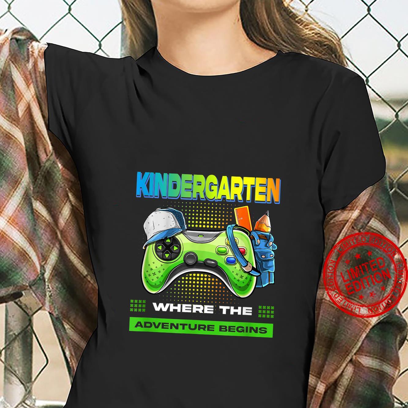 Kindergarten Adventure Begin Back To School Video Games Boy Shirt ladies tee