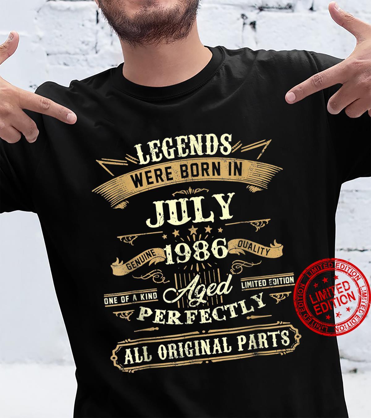 Legends Were Born In July 1986 35th Birthday Shirt