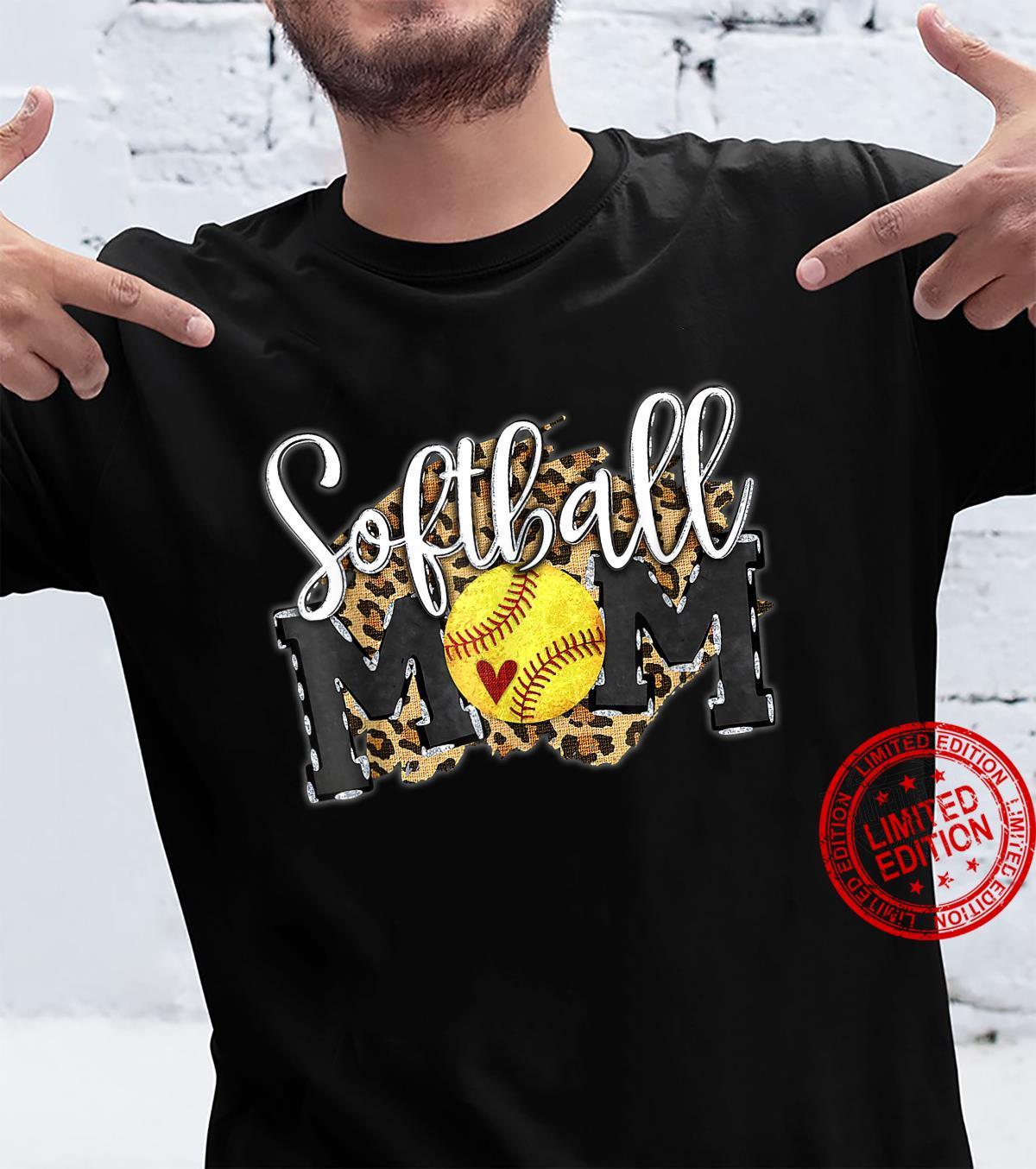 Softball Mom Leopard Baseball Mom Mother's Day 2021 Shirt