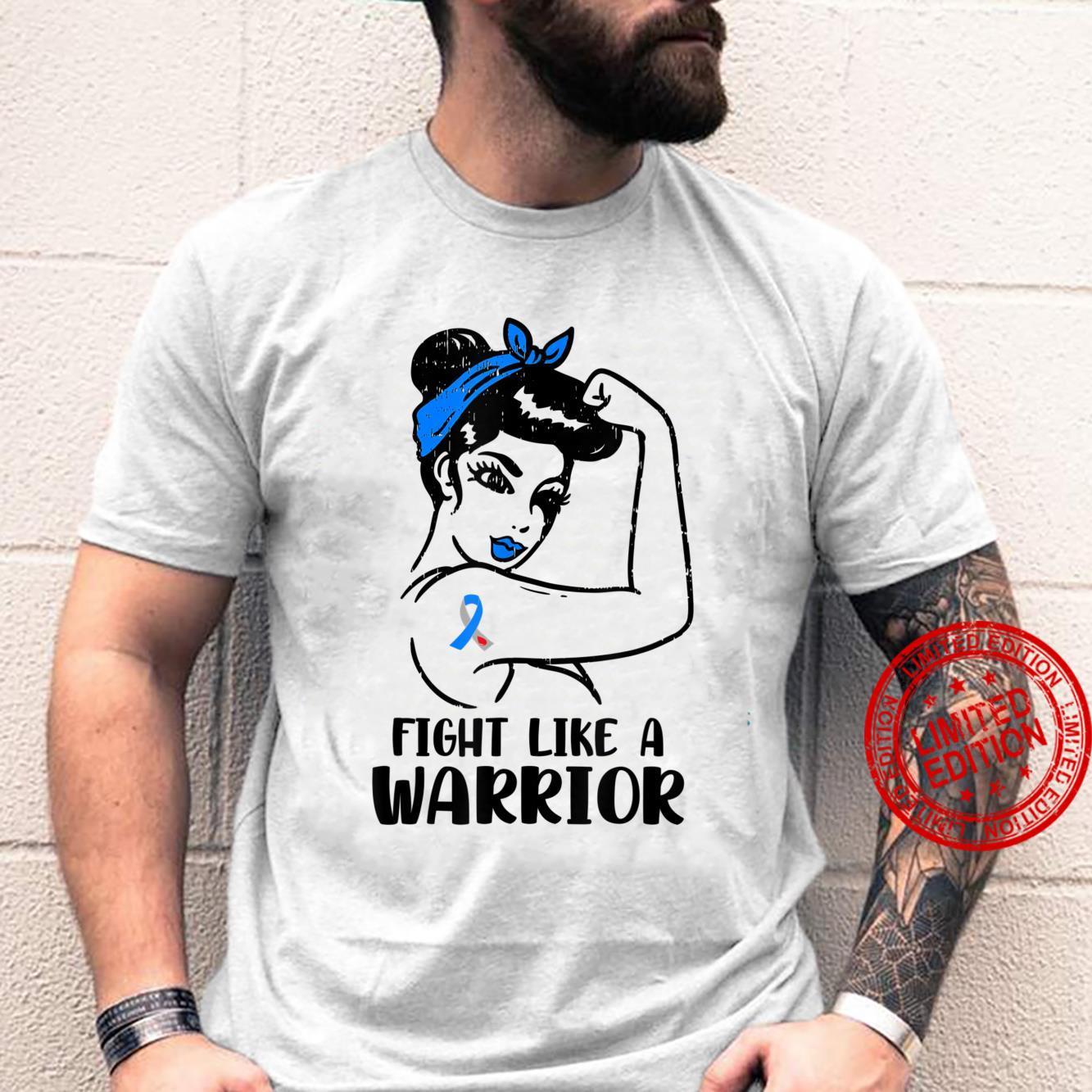 Womens Fight Like Warriors Blue Type 1 Diabetes Awareness Shirt
