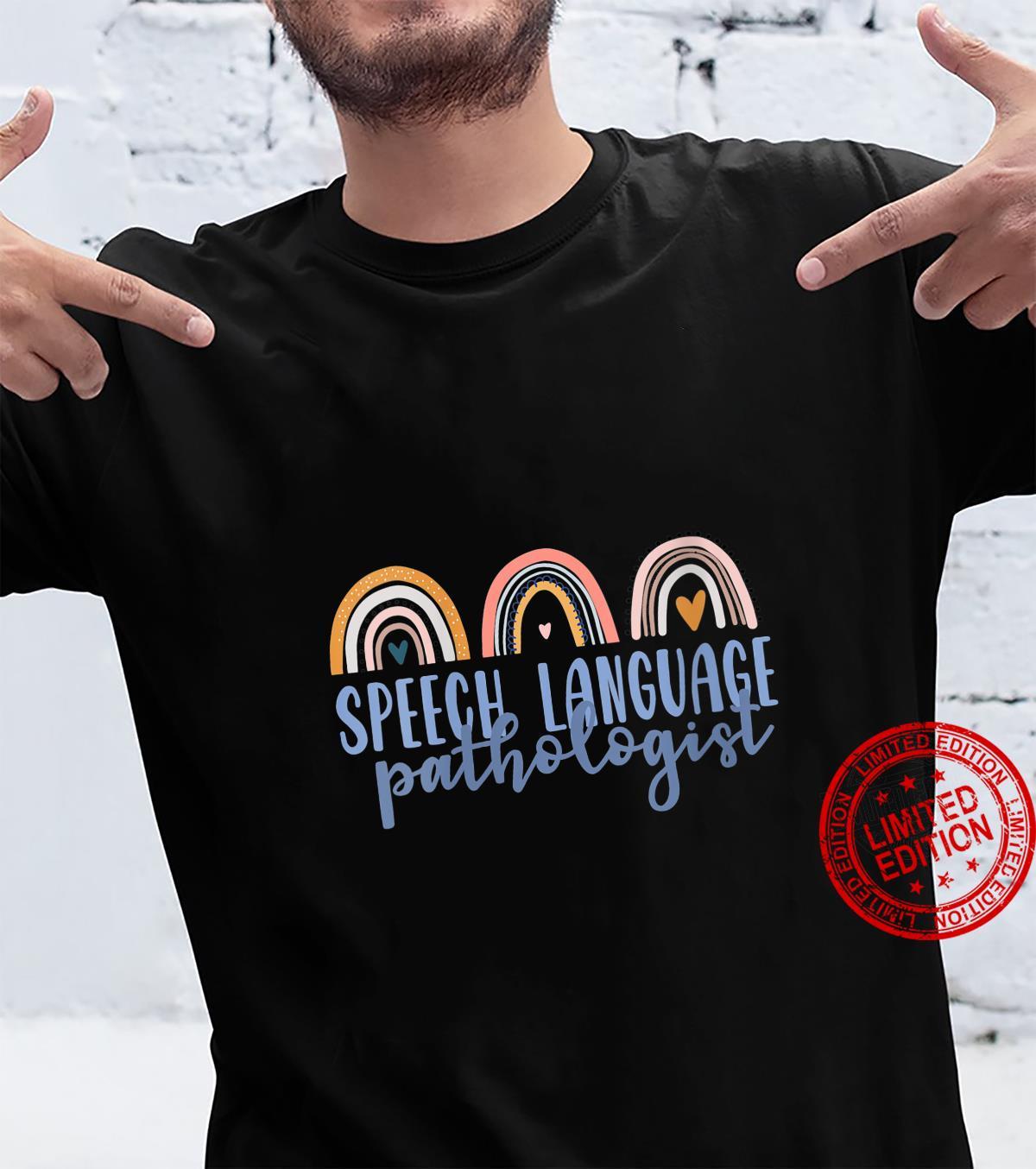 Womens Speech Language Pathologist Speech SLP Boho Rainbow Shirt