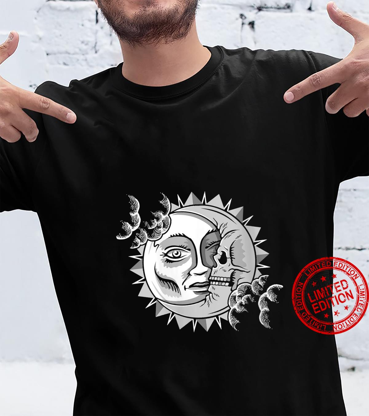 Womens Tarot Astrology Sun Face And Skull Moon Mandala Shirt
