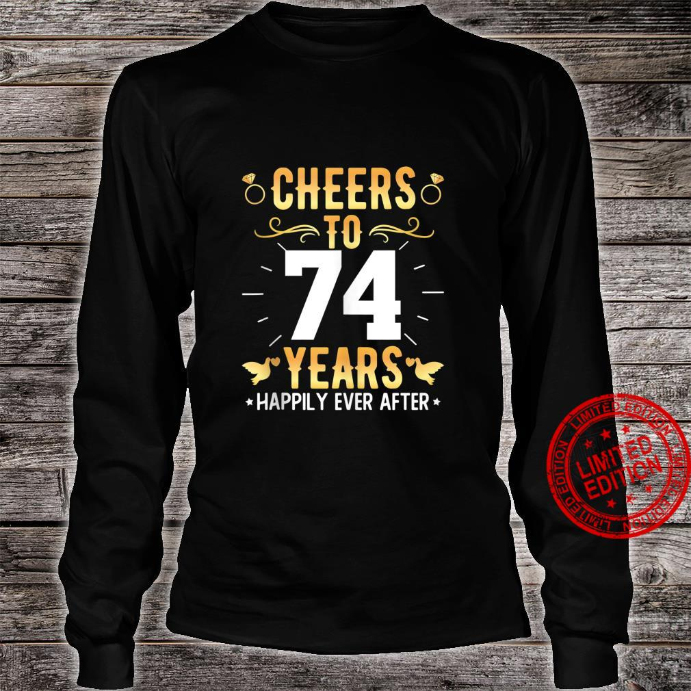 Cheers To 74 Years Married Couples 74th Wedding Anniversary Shirt long sleeved