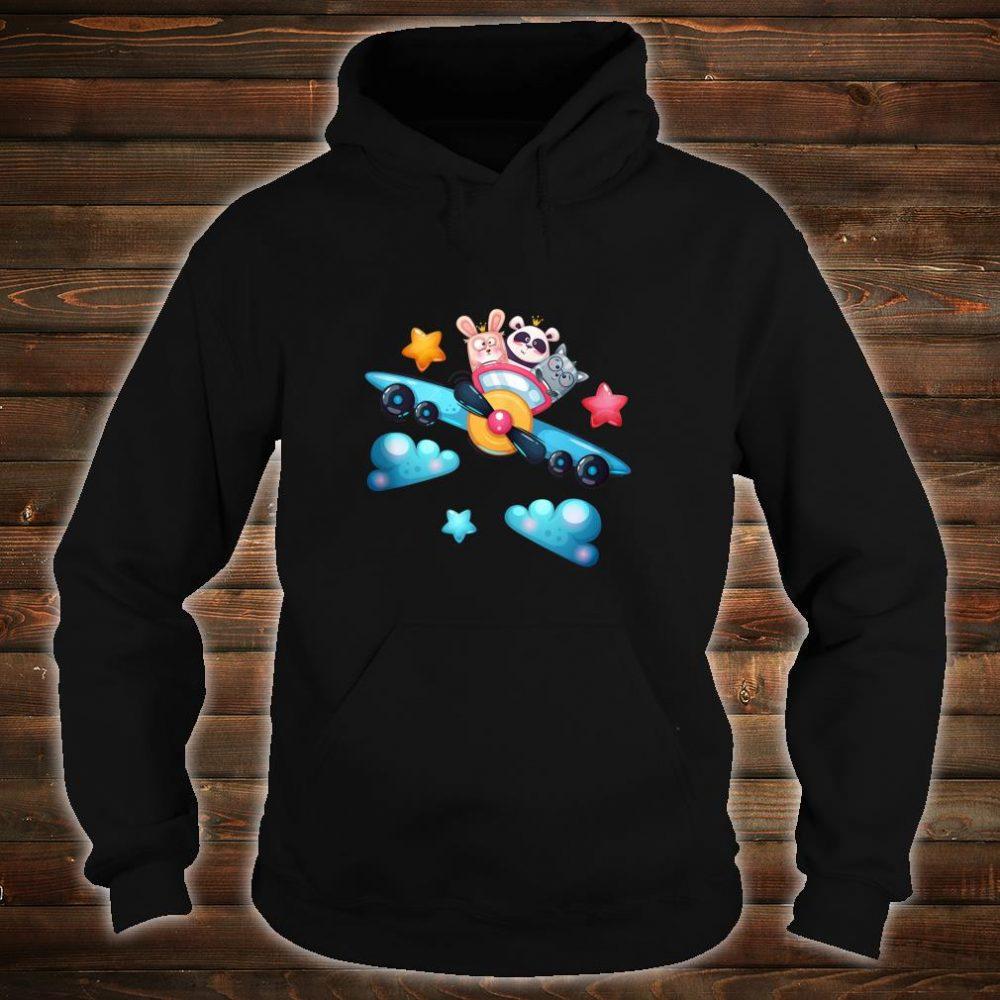 Cute Panda Bear, Cat and Rabbit Flying a Plane Shirt hoodie