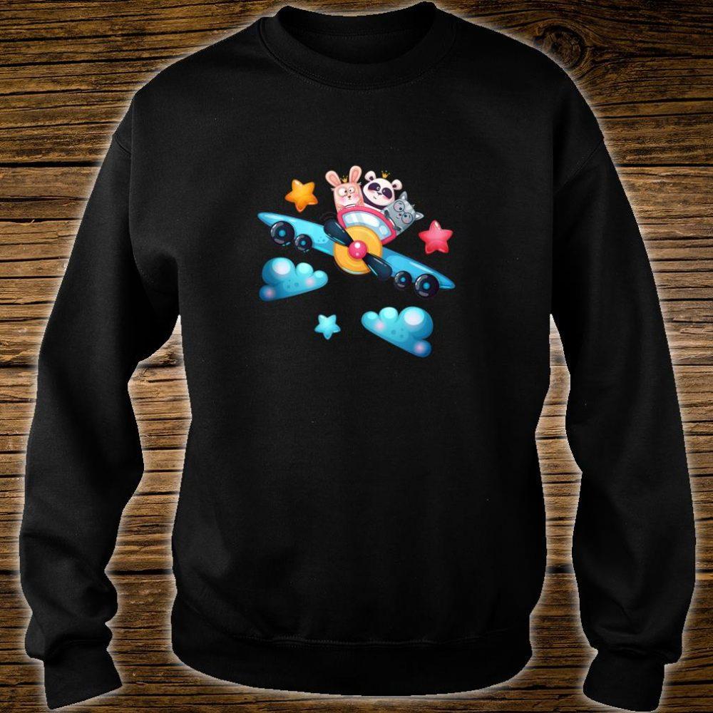 Cute Panda Bear, Cat and Rabbit Flying a Plane Shirt sweater