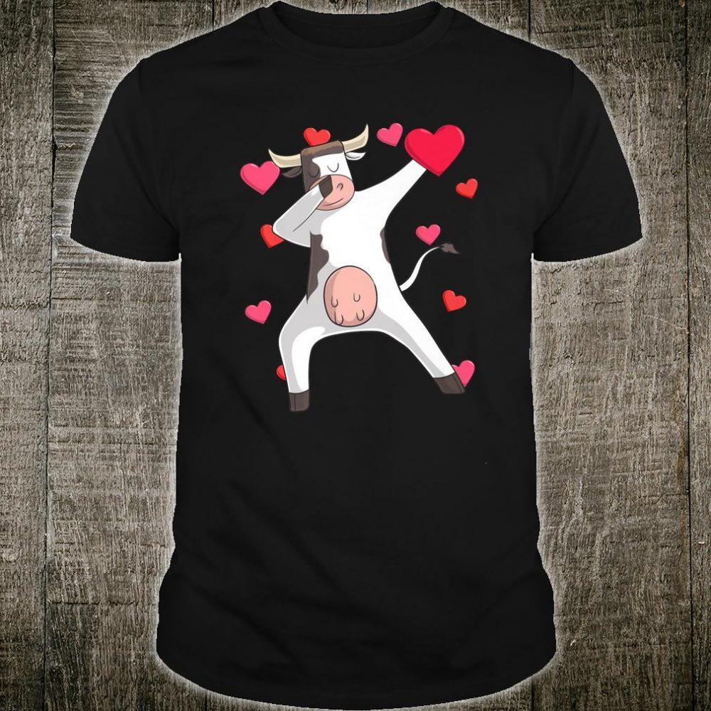 Dabbing Cow Valentine's Day Love Heart Cute Dance Pose Shirt