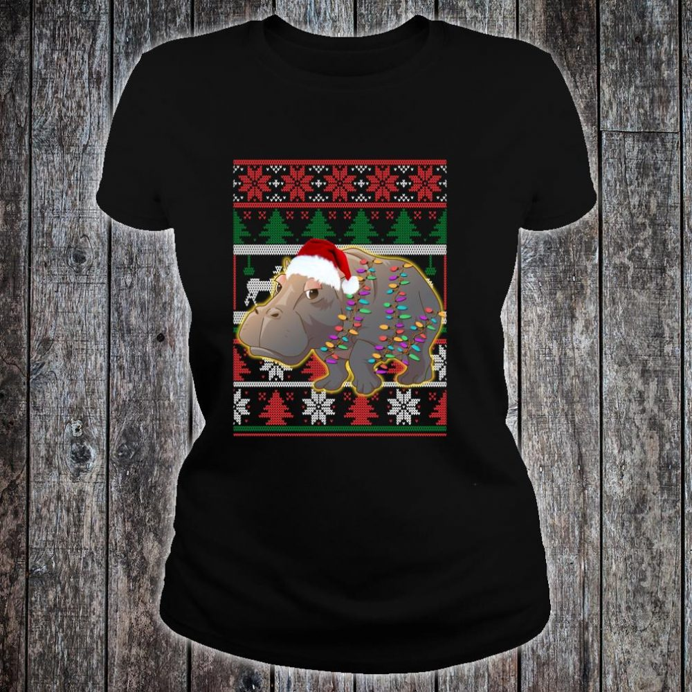 Funny Hippo Ugly Christmas Shirt ladies tee