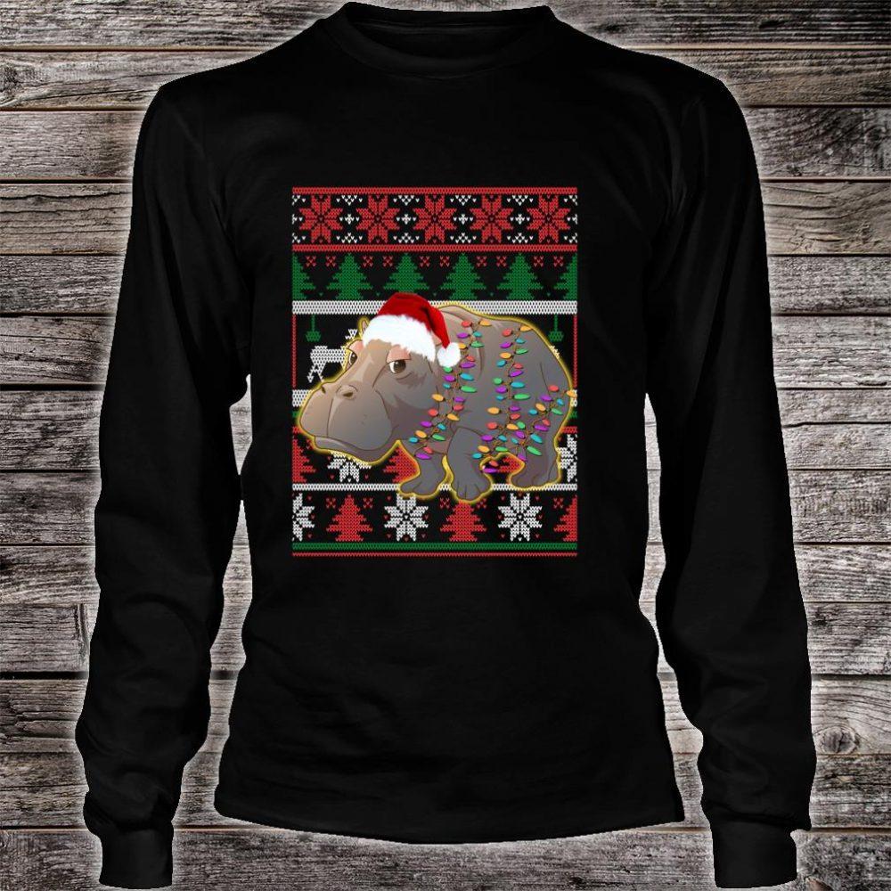 Funny Hippo Ugly Christmas Shirt long sleeved