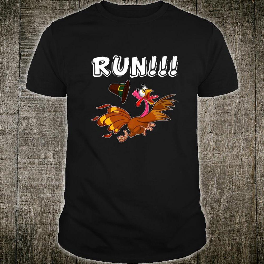 Funny Run Turkey Thanksgiving Day Running Trot Pilgrim Shirt