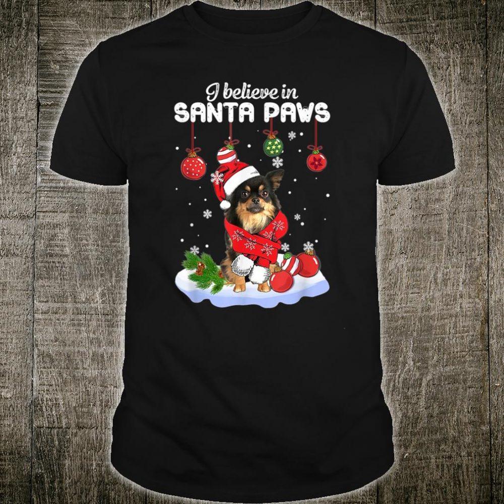 Funny Santa Long Haired Chihuahua Claus dog Christmas Shirt