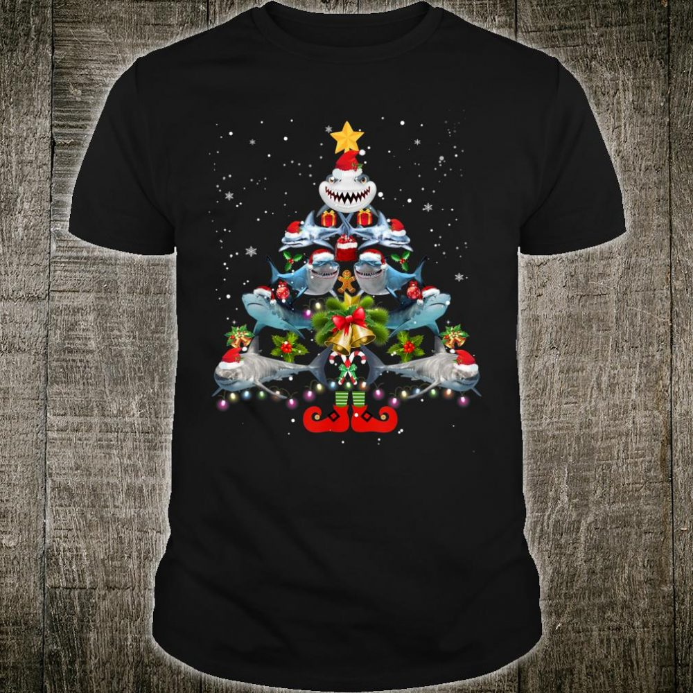 Funny Shark Christmas Tree Shirt Cute Xmas Shark Shirt