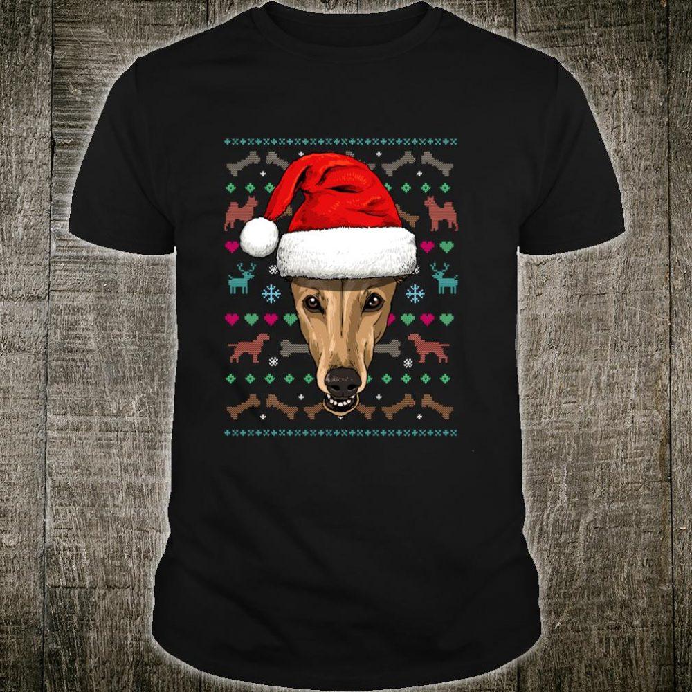 Greyhound Ugly Christmas Dog Santa Hat Xmas Boys Shirt
