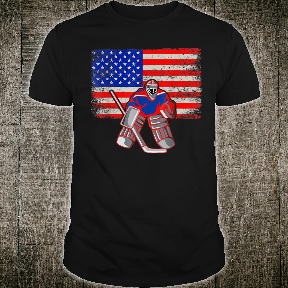 Ice Hockey Goalie Retro Vintage Patriotic USA Flag Shirt