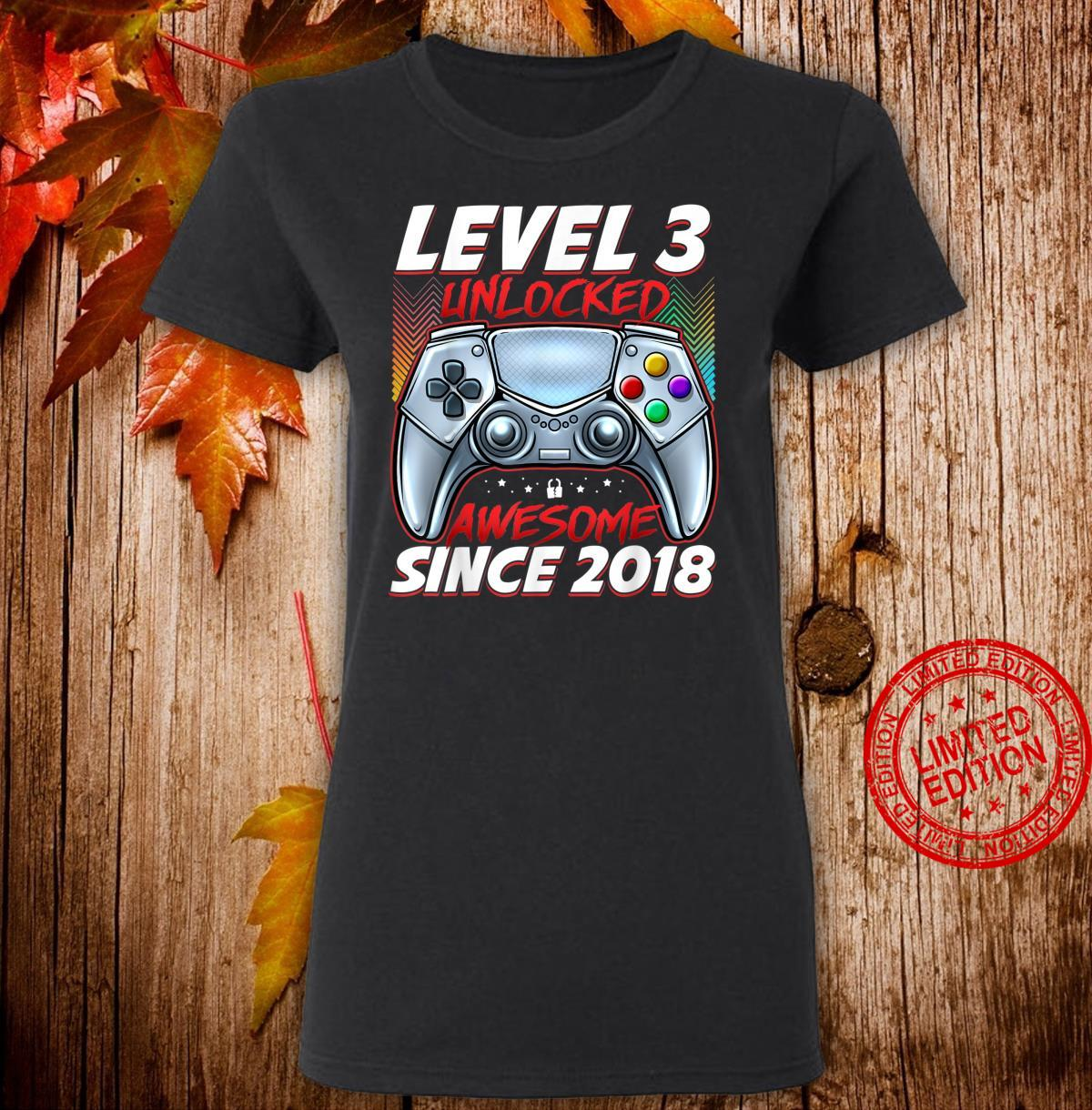 Level 3 Unlocked Awesome Since 2018 3rd Birthday Gaming Shirt ladies tee