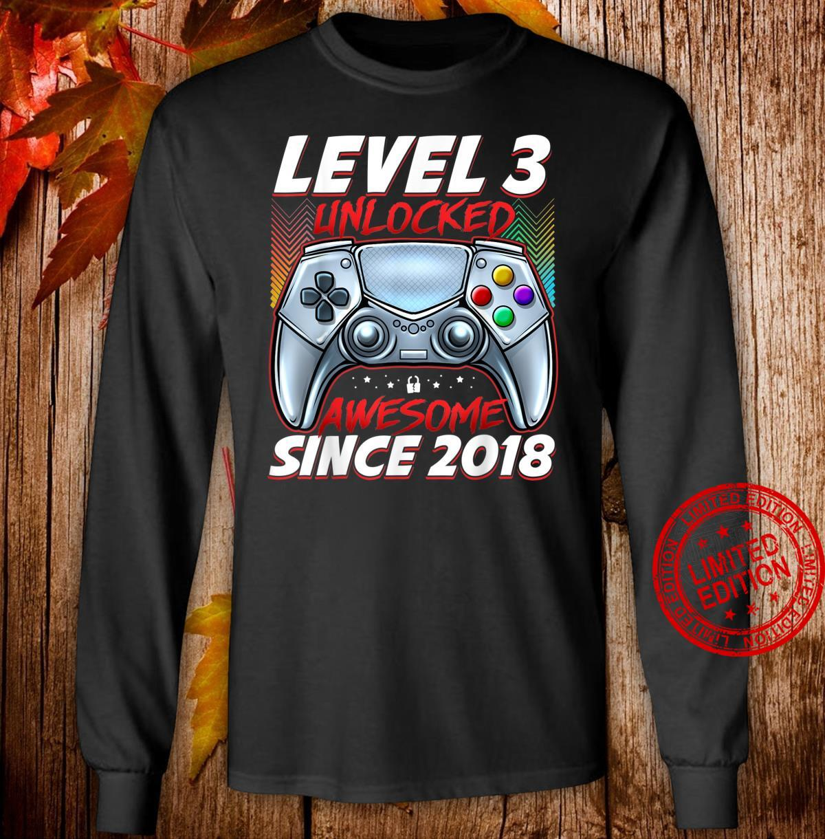 Level 3 Unlocked Awesome Since 2018 3rd Birthday Gaming Shirt long sleeved