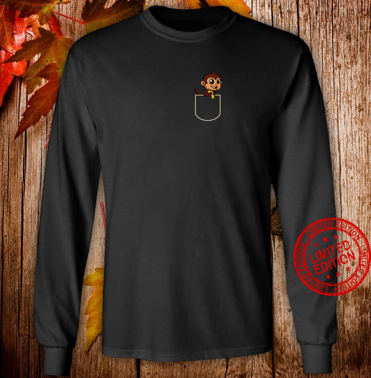 Lustiges Affe In Der Brusttasche Geschenk Affen Pocket Shirt long sleeved