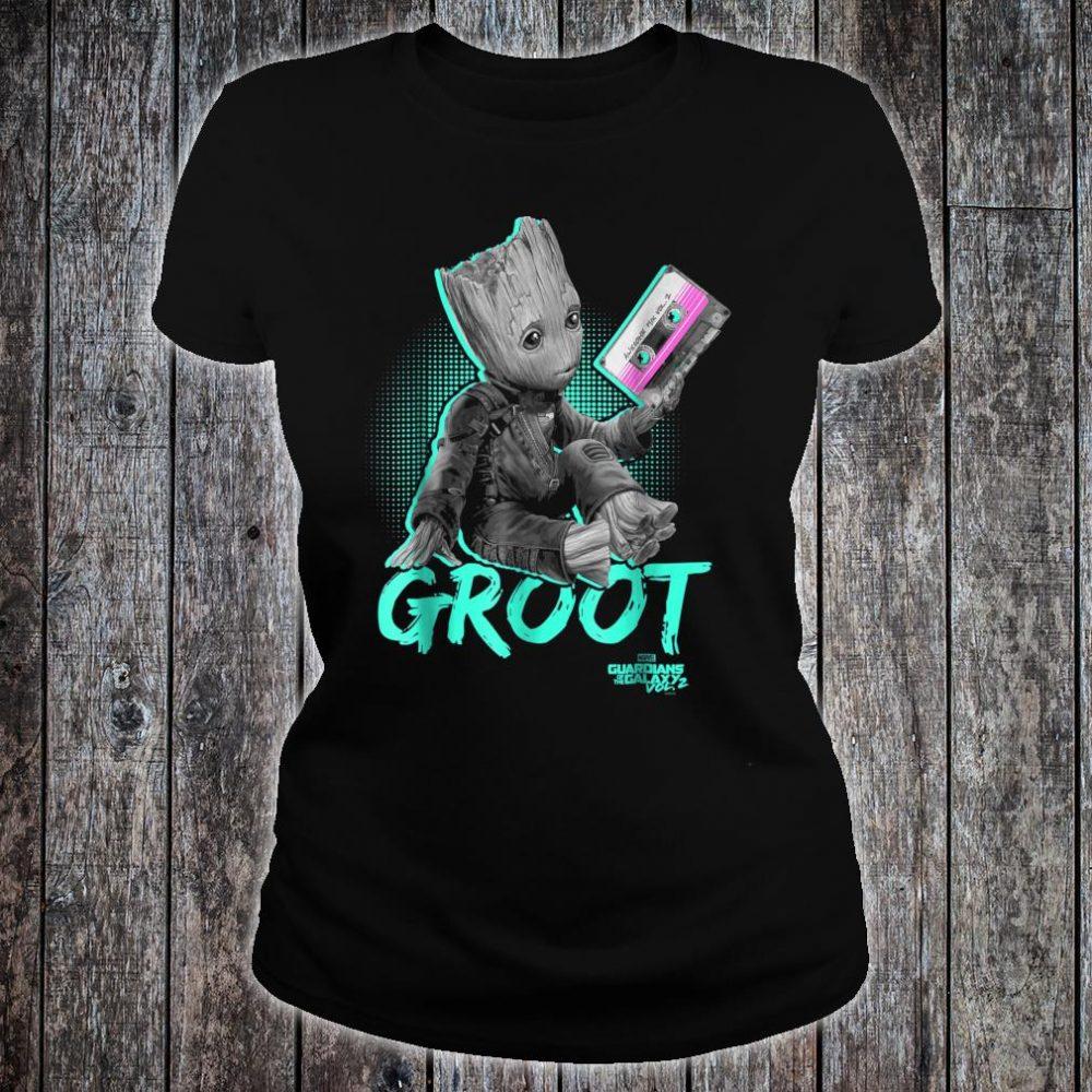 Marvel Guardians Vol. 2 Baby Groot Neon Tape Shirt ladies tee