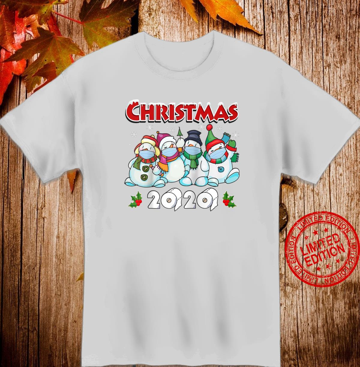 Merry Christmas 2020 Snowman in Mask Pajama snowflakes Xmas Shirt