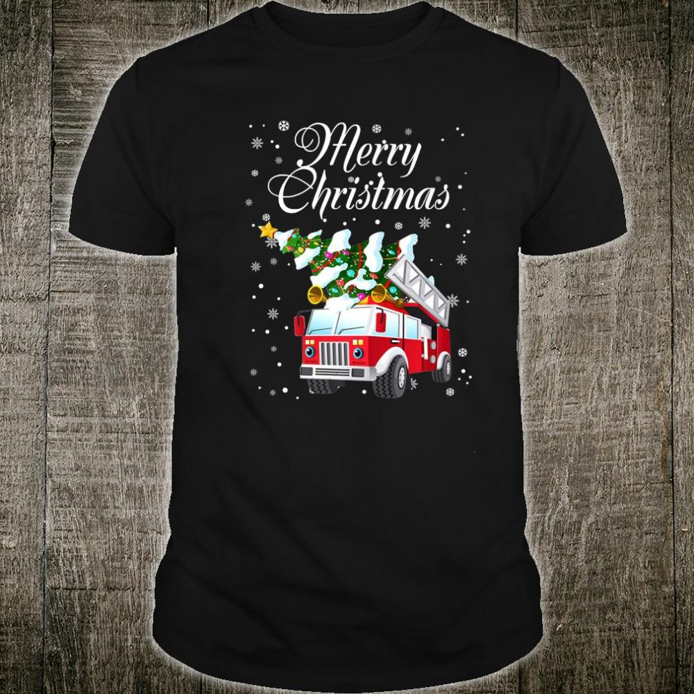 Merry Christmas Firefighter Fire Truck With Christmas Tree Shirt