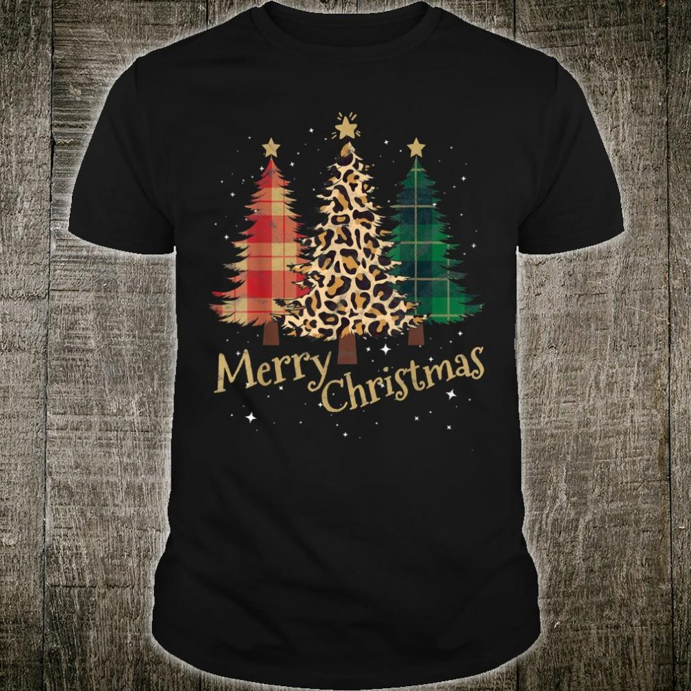 Merry Christmas Trees with Leopard Plaid Family Xmas Shirt