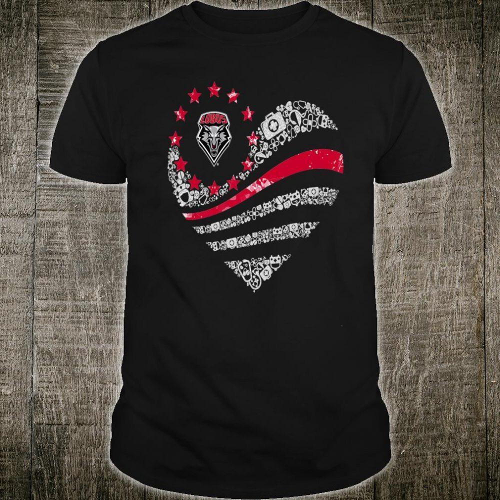 New Mexico Lobos Nurse Flag Heart Nurse Things Team Shirt