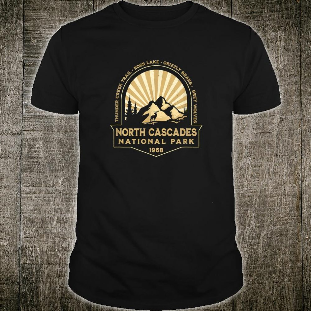 North Cascades National Park Washington Retro Hiking Camping Shirt