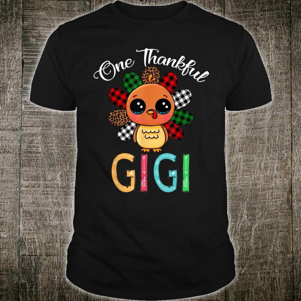 One Thankful Gigi Turkey Leopard White Green Red Plaid Shirt