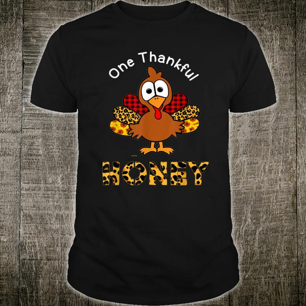 One Thankful Honey Buffalo Plaid Leopard Thanksgiving Shirt