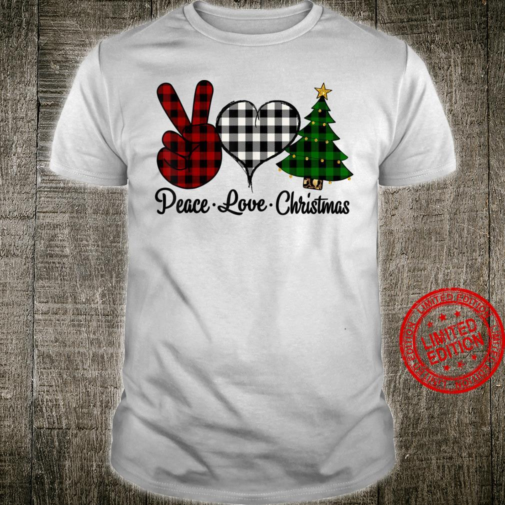 Peace Love Christmas Buffalo Plaid Christmas Tree Holiday Shirt