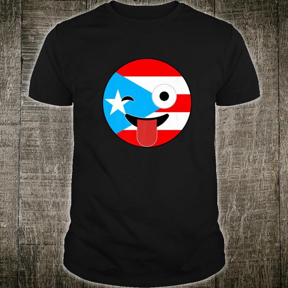 Puerto Rico Souvenirs Crazy Face Emoji Puerto Rico Flag Shirt