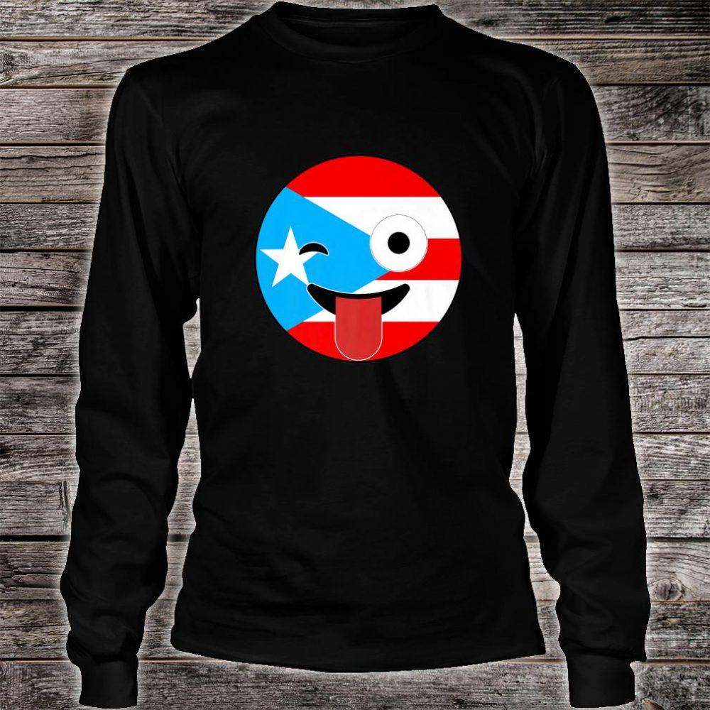 Puerto Rico Souvenirs Crazy Face Emoji Puerto Rico Flag Shirt long sleeved
