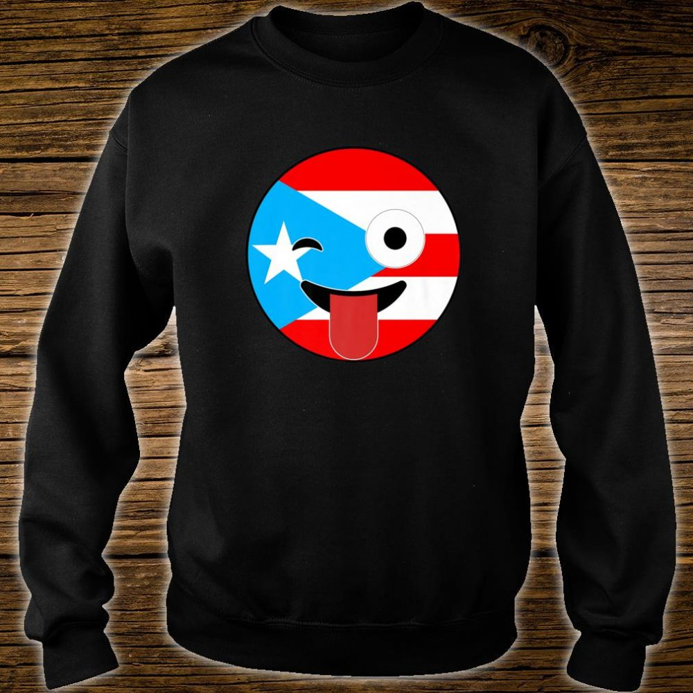 Puerto Rico Souvenirs Crazy Face Emoji Puerto Rico Flag Shirt sweater