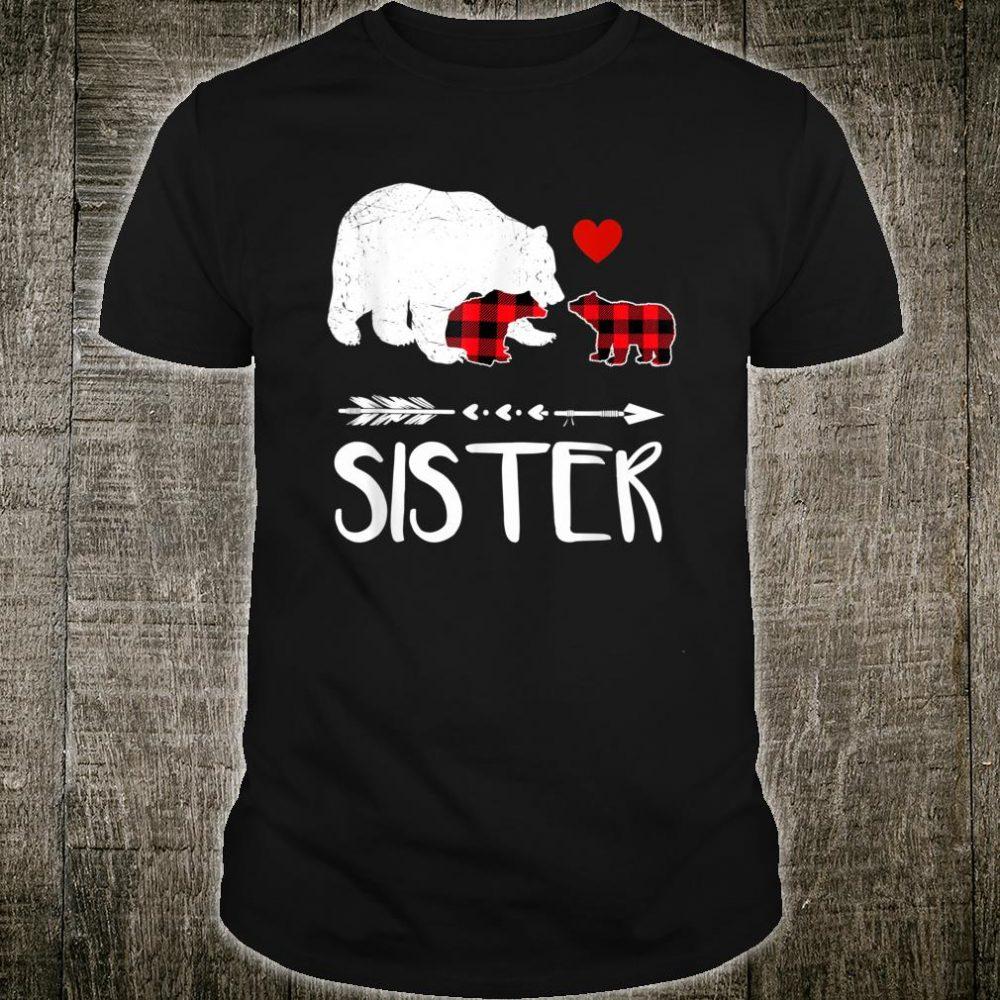 Red Plaid Sister Bear Two Cubs Matching Buffalo Pajama Xmas Shirt