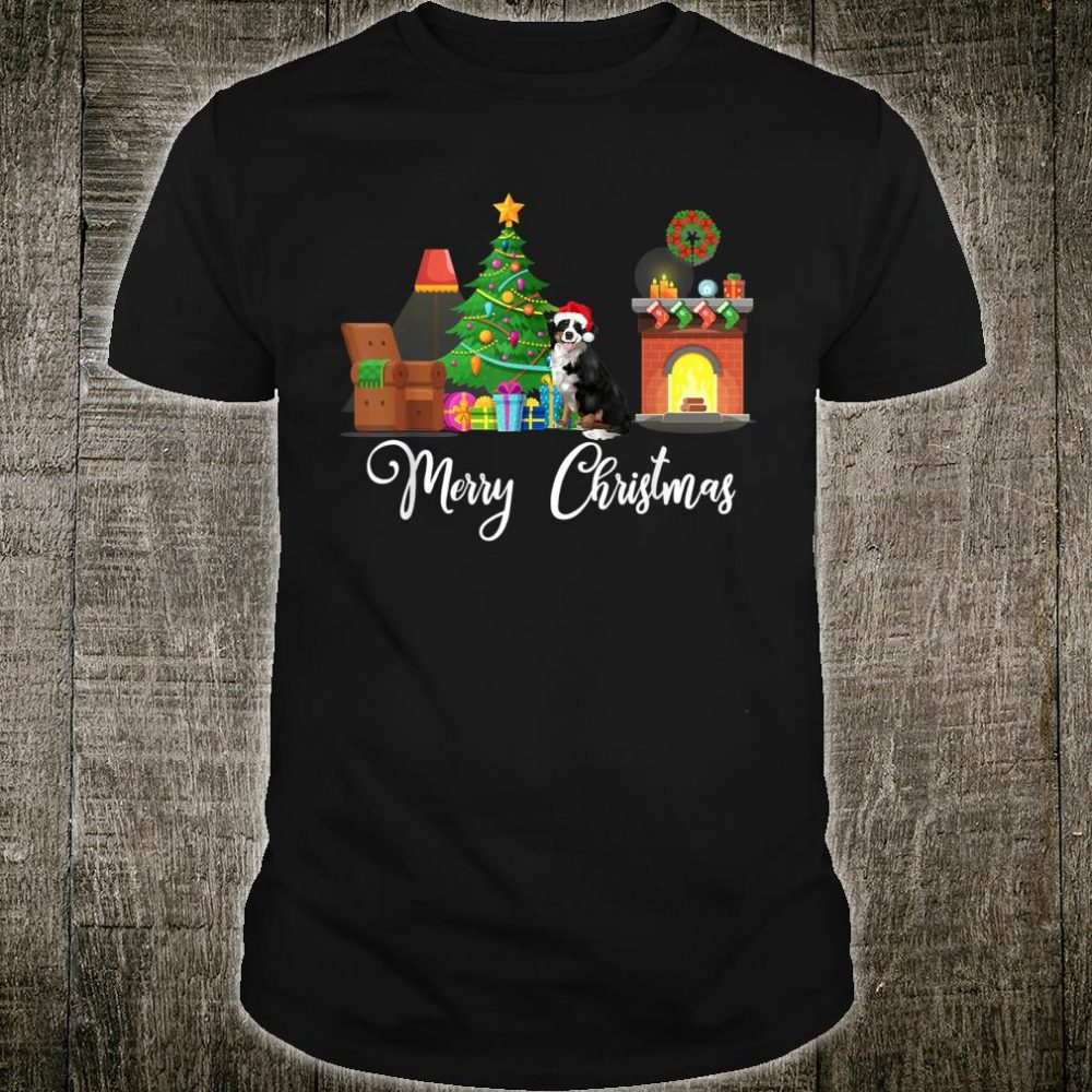 Red Truck Merry Christmas Tree Bernese Mountain Dogs Shirt