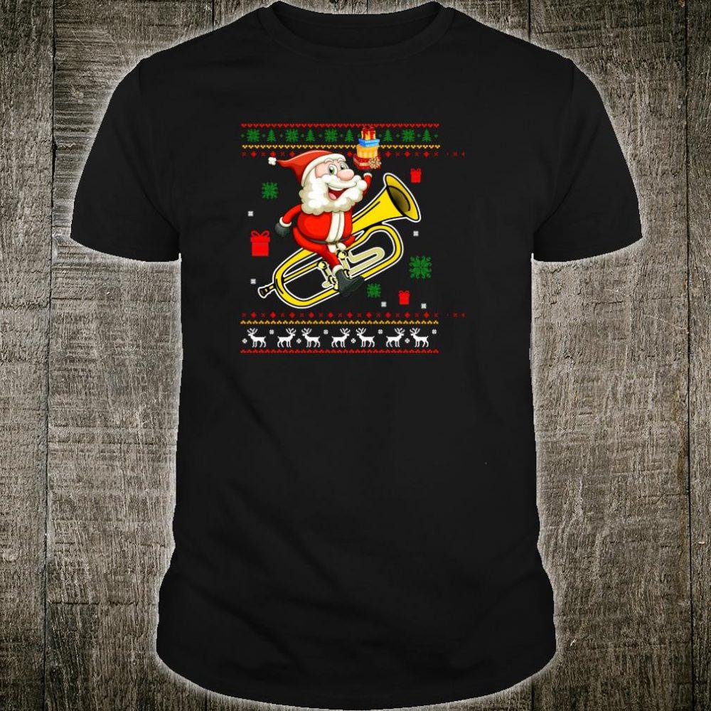 Santa Trumpet Ugly Christmas Shirt