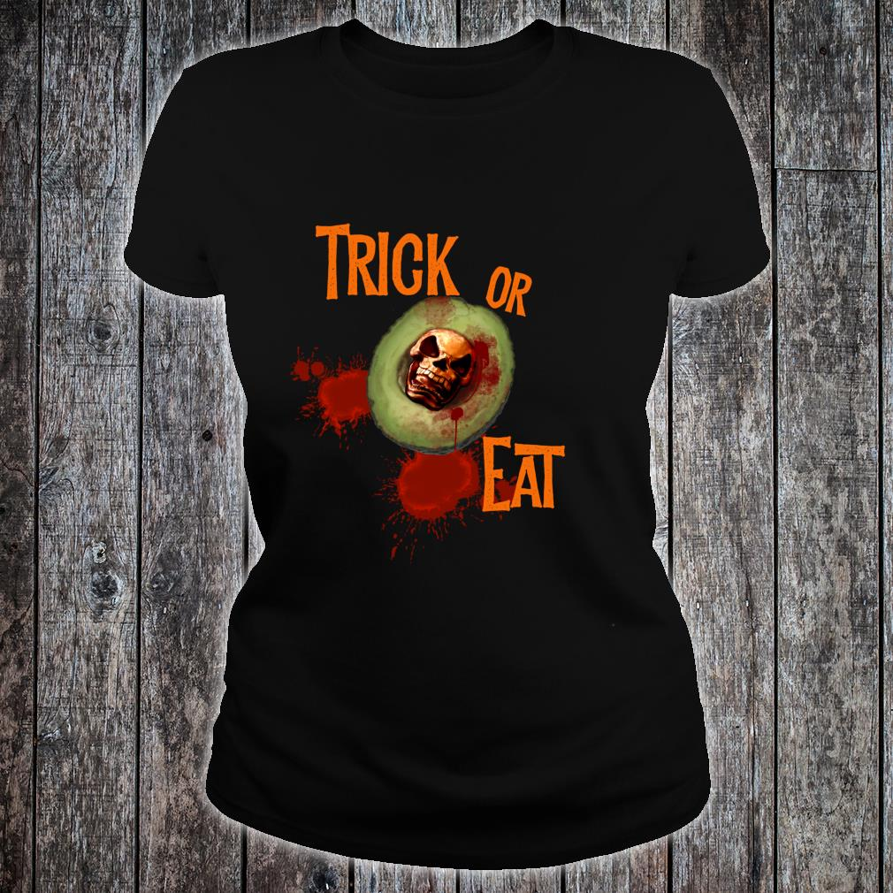 Scary Avocado Halloween Trick or Treat Shirt ladies tee