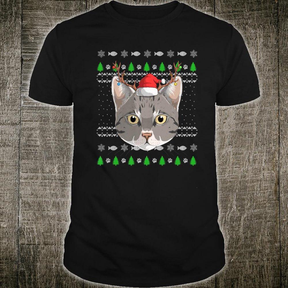 Tabby Cat Santa Claus Hat Ugly Christmas Pattern XMas Kitty Shirt