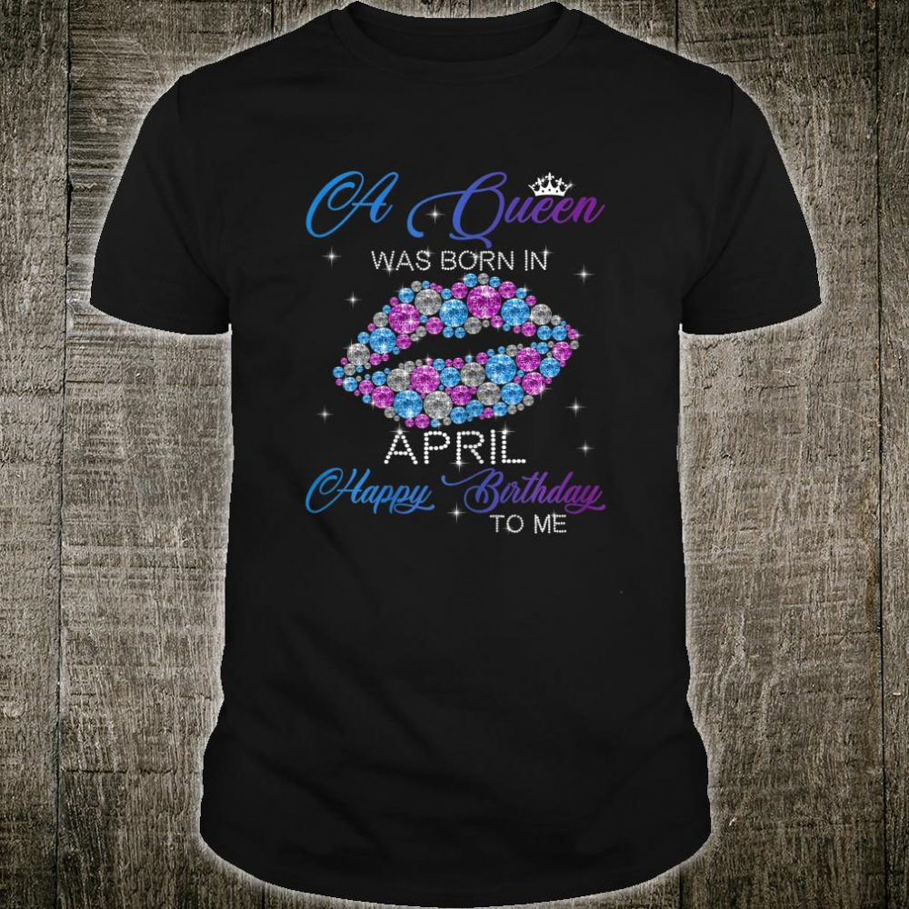 Womens A Queen Was Born In April Purple Lips Birthday Shirt