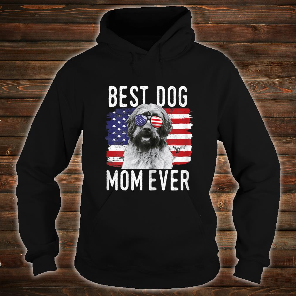 Womens American Flag Best Dog Mom Ever Wirehaired Pointing Griffon Shirt hoodie