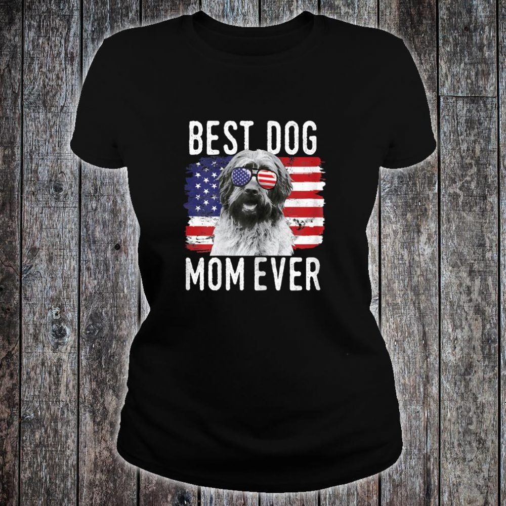 Womens American Flag Best Dog Mom Ever Wirehaired Pointing Griffon Shirt ladies tee