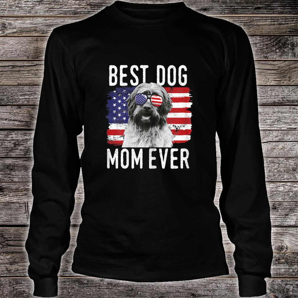 Womens American Flag Best Dog Mom Ever Wirehaired Pointing Griffon Shirt long sleeved