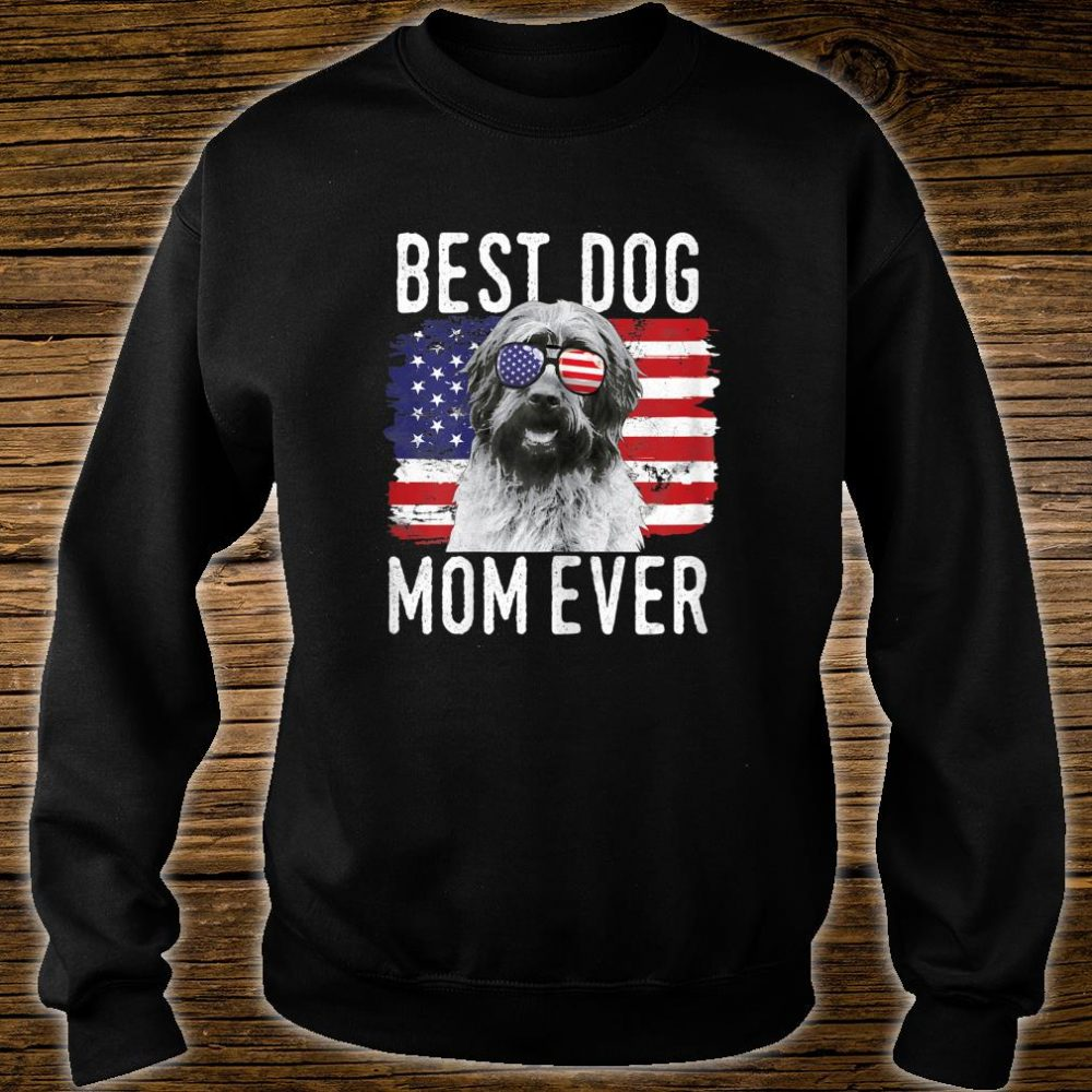 Womens American Flag Best Dog Mom Ever Wirehaired Pointing Griffon Shirt sweater