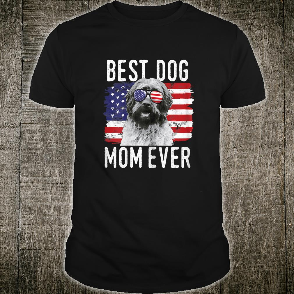Womens American Flag Best Dog Mom Ever Wirehaired Pointing Griffon Shirt