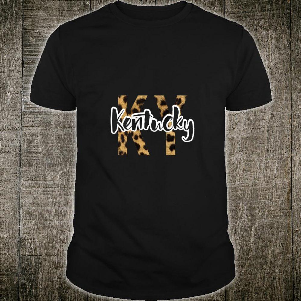 Womens Kentucky Leopard Cheetah Travel Vacation Souvenir State USA Shirt
