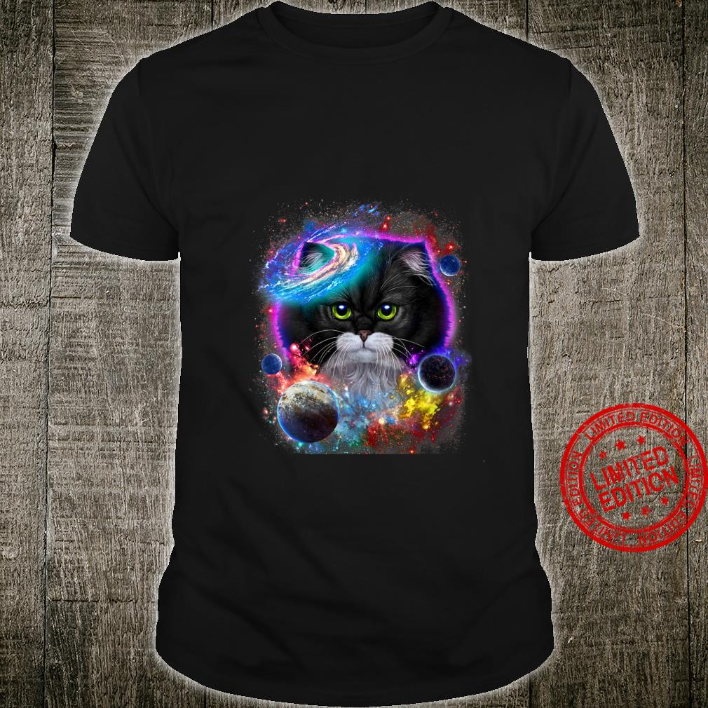 Womens Tuxedo Cat Face Swirl in Planetary Galaxy Space and Cosmos Shirt